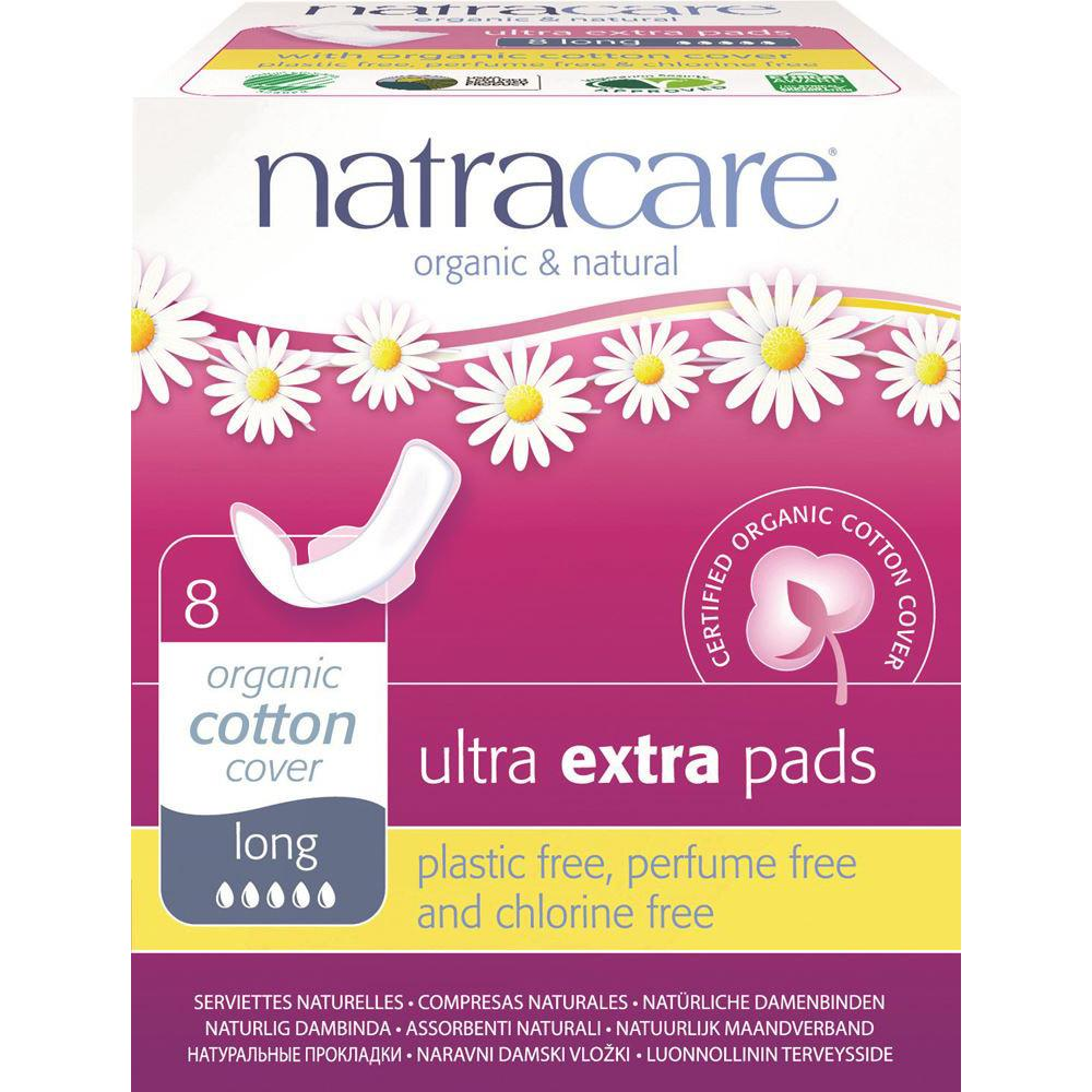 Natracare Ultra Extra Pads Long with Organic Cotton Cover x 8 Pack