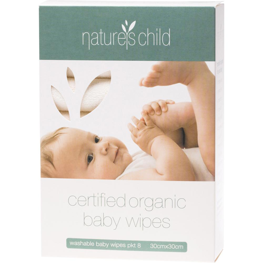Nature's Child Baby Wipes Organic Cotton Cloth Box Of 8