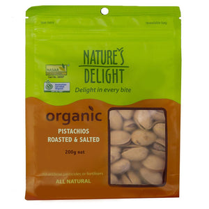 Nature's Delight Organic Pistachios Roasted and Salted 200g