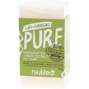 Niulife Coconut Oil Soap 100g Pure - Unscented