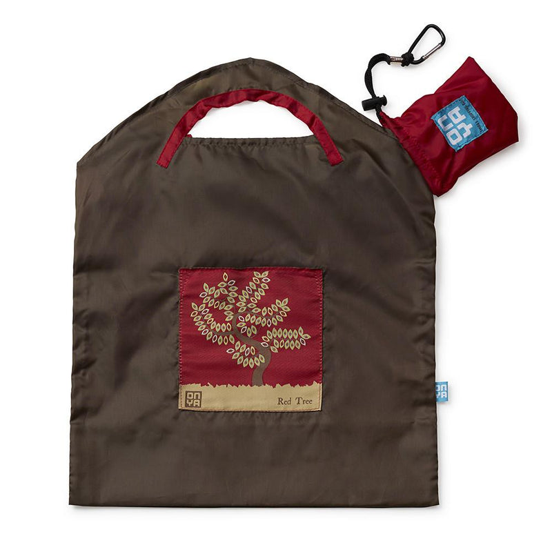 Onya Reusable Shopping Bags Olive Red Tree Small