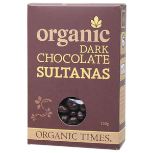 Organic Times Chocolate Sultanas 150g Dark Chocolate