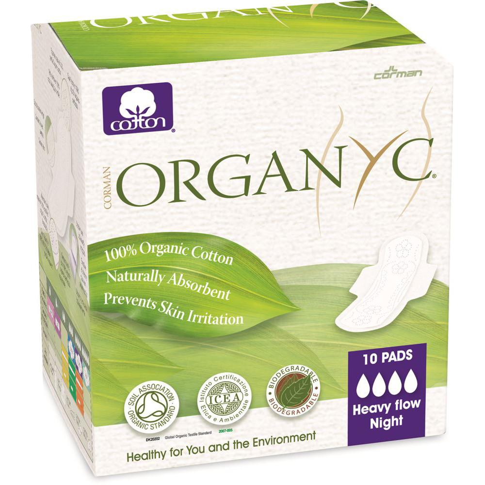 Organyc Ultra Thin Pads Heavy Flow Night with Wings x 10 Pack
