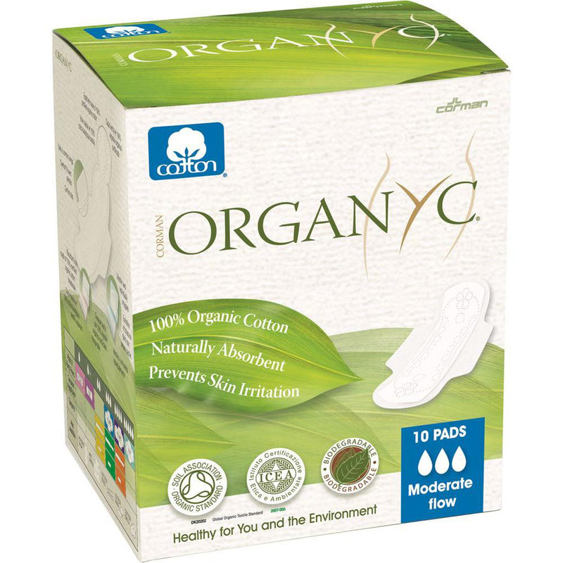 Organyc Ultra Thin Pads Moderate Flow with Wings x 10 Pack