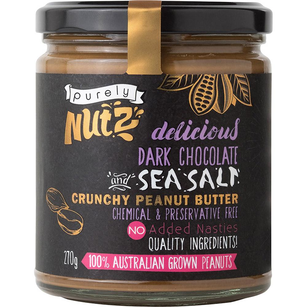 Purely Nutz Peanut Butter Crunchy Chocolate and Sea Salt 270g