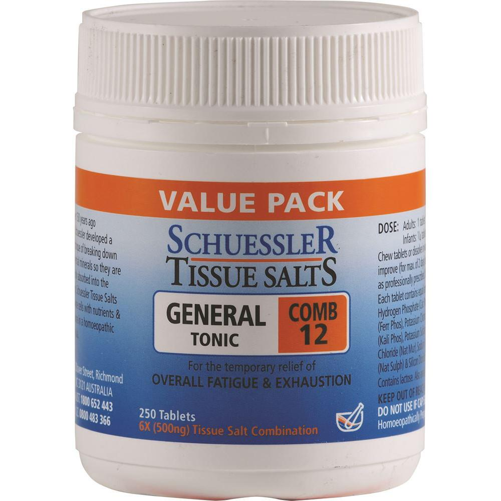 Schuessler Tissue Salts Comb 12 General Tonic 250t