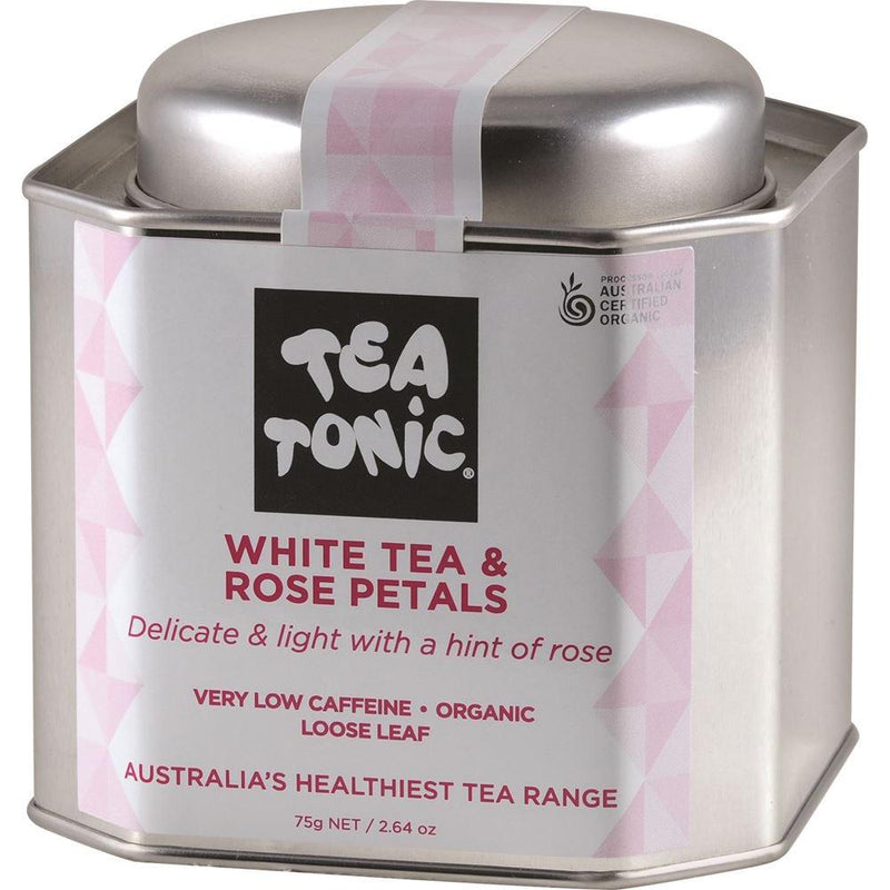 Tea Tonic Organic White Tea & Rose Petals Tea Tin 75g