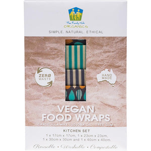 The Family Hub Organics Vegan Food Wraps Kitchen Set 1 x Small, Medium, Large & XL 4