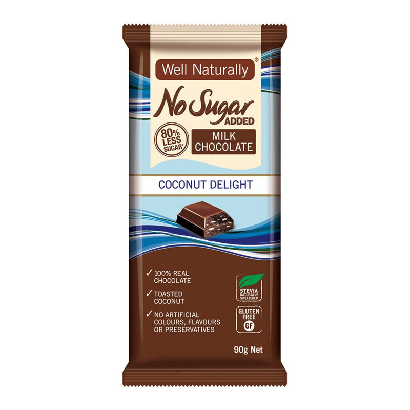 Well Naturally No Added Sugar Milk Chocolate Block Coconut Delight 90g