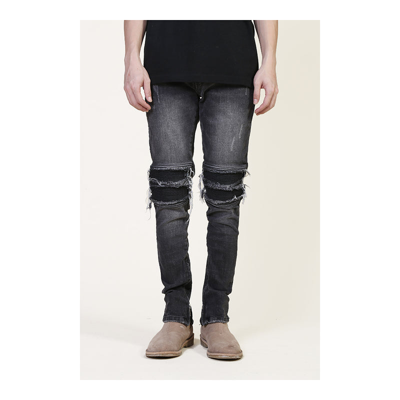 Distressed biker denim jean in acid