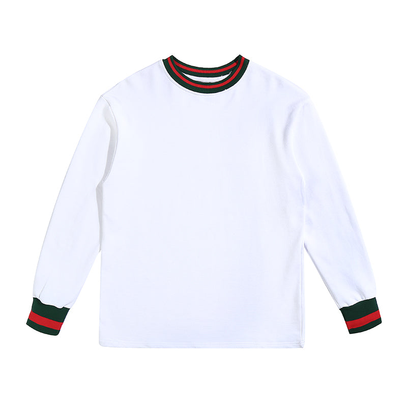'Racer' Long Sleeve Cotton Top in white