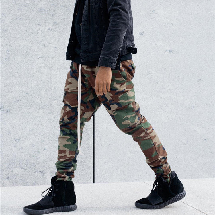 Drawstring Cargo Pants In Camo