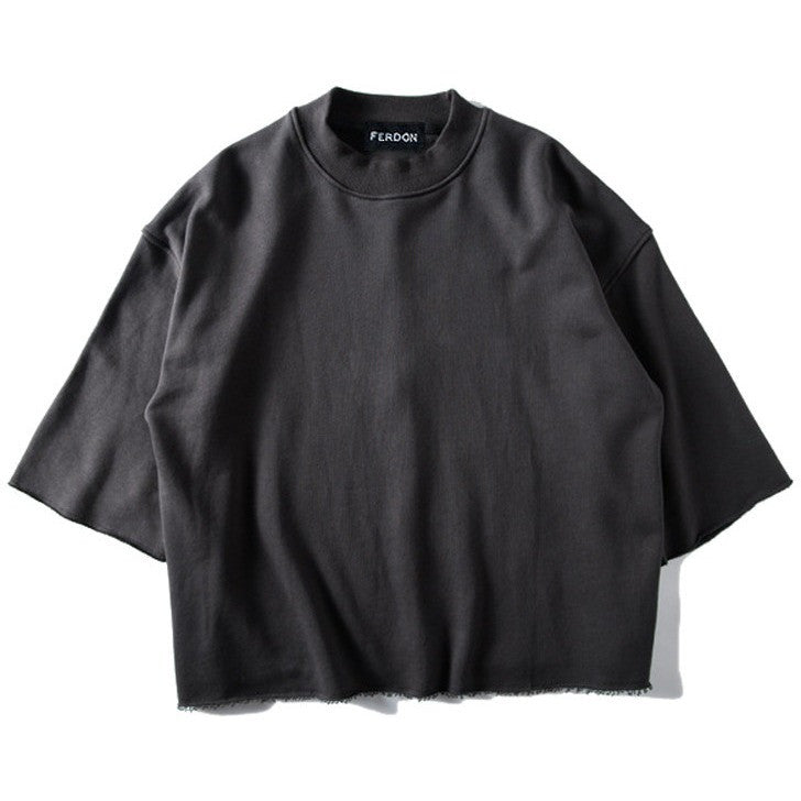 Oversized Raw Hem Sweatshirt In Charcoal