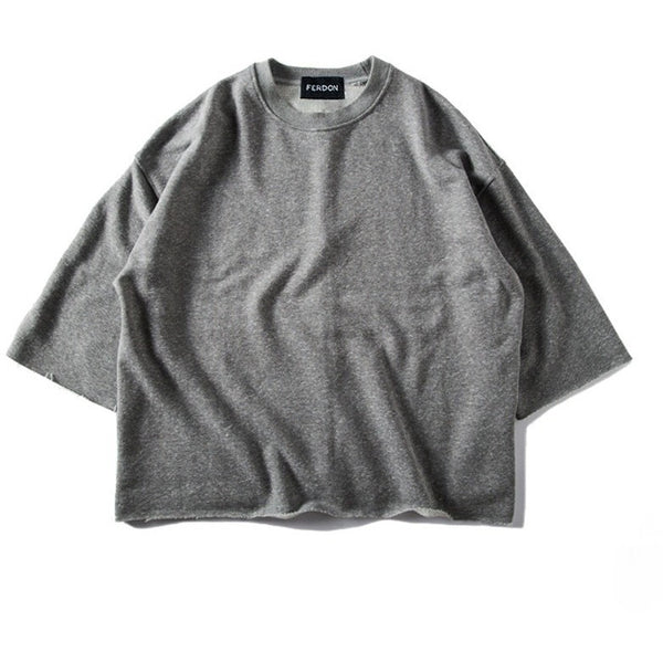 Oversized Raw Hem Sweatshirt In Grey