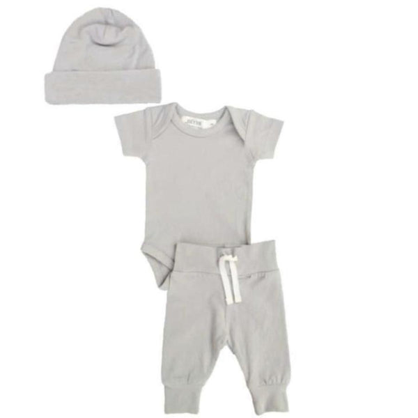 Organic newborn layette bundle set from Lucy Lue Organics. Set includes organic cotton baby hat, organic cotton short sleeve bodysuit, and organic cotton baby pants in stone grey color. Lucy Lue Organics. Organic baby clothes, organic toddler clothes, organic cotton, toxin free clothing, eco friendly fabrics, eco-fashions, baby clothes, modern organic baby clothes, baby boy clothes, baby girl clothes, gender neutral baby clothes. Baby basics. Baby must haves. Baby clothing.