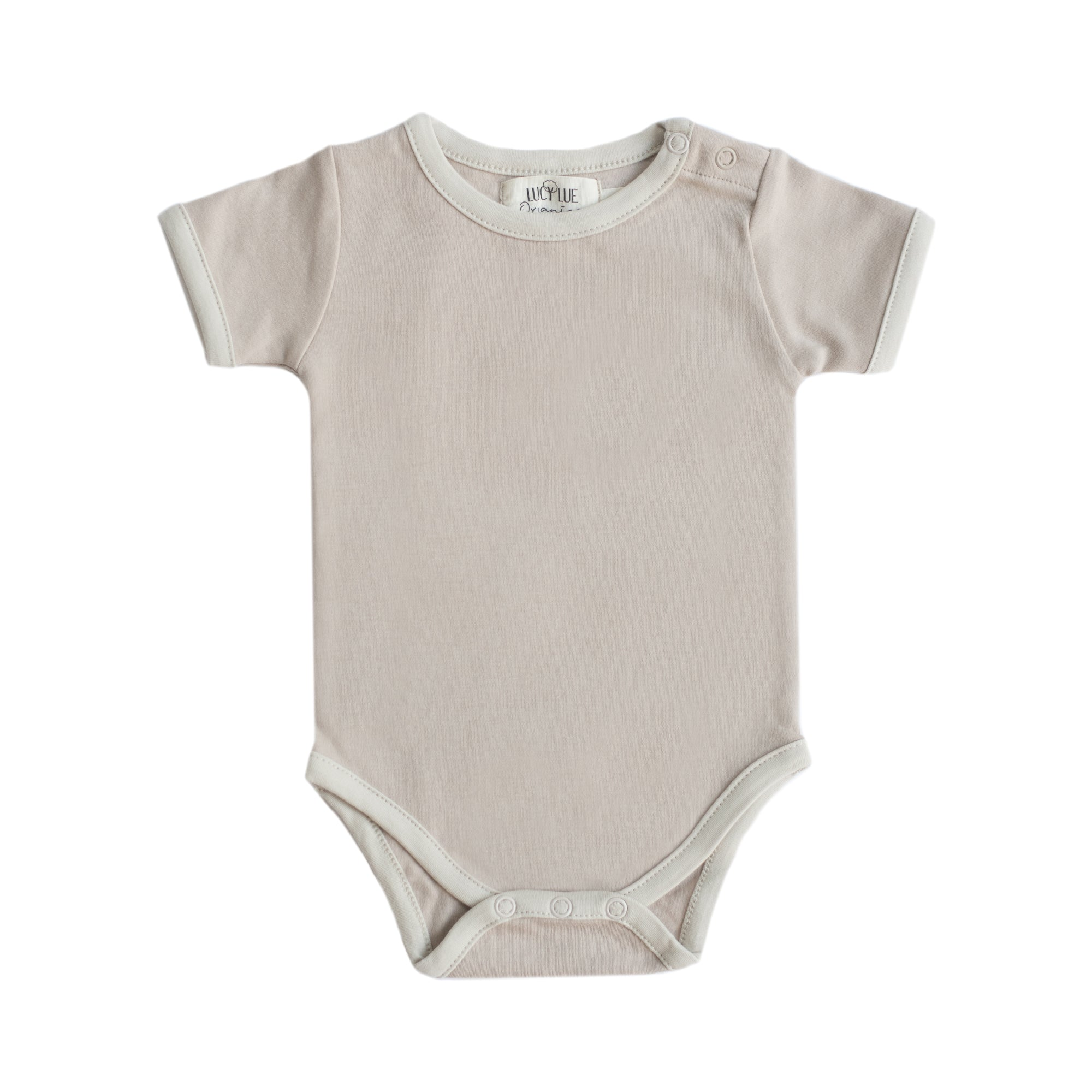 Organic 2-tone short sleeve bodysuit by Lucy Lue Organics. If you are looking for organic baby clothes, Lucy Lue Organics is the best baby brand. Retro baby bodysuit. Modern organic baby clothing. Soft baby clothes. Organic rompers in gender neutral colors. gender neutral baby clothes. Unisex baby clothes