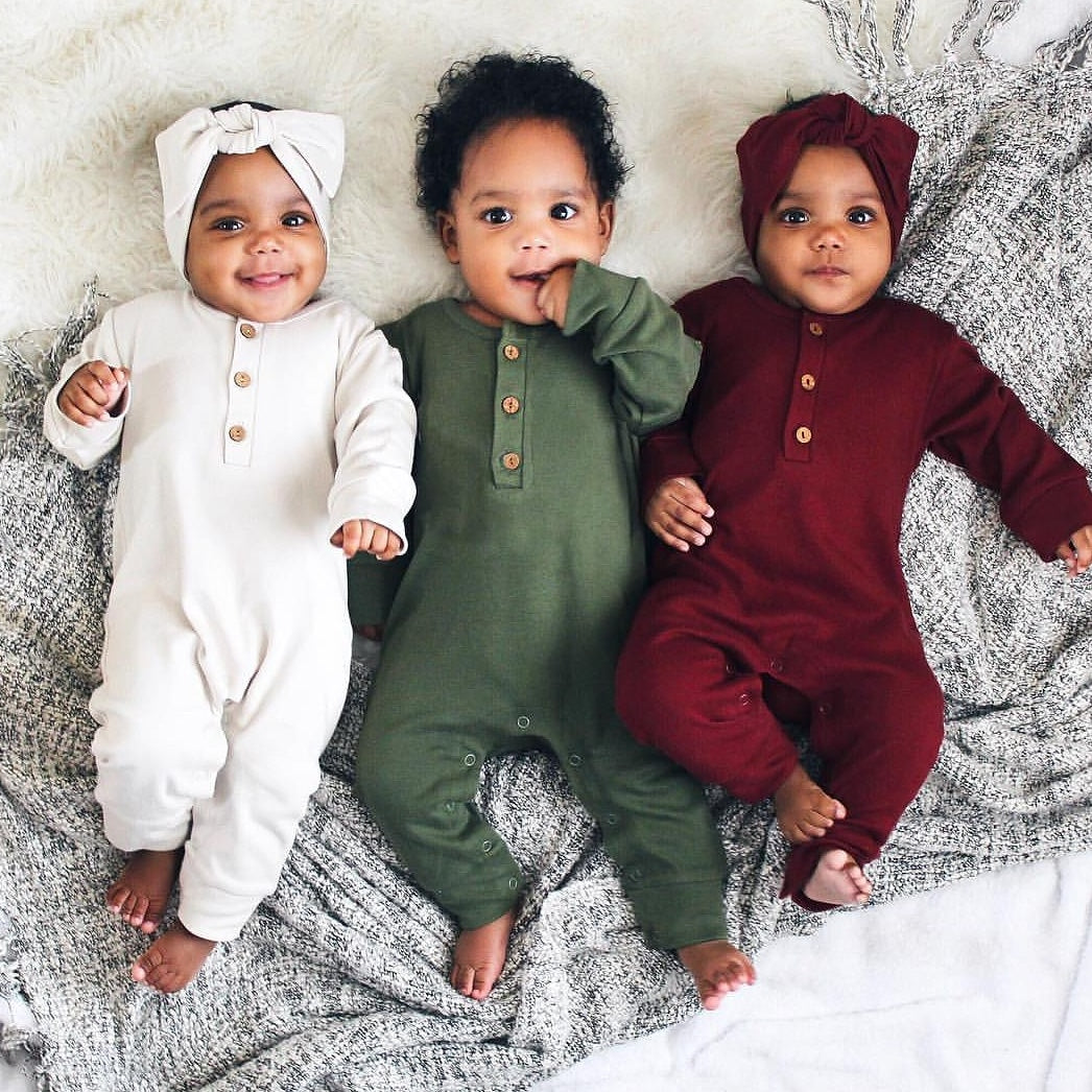 organic long sleeve romper | kale (6-12m only)