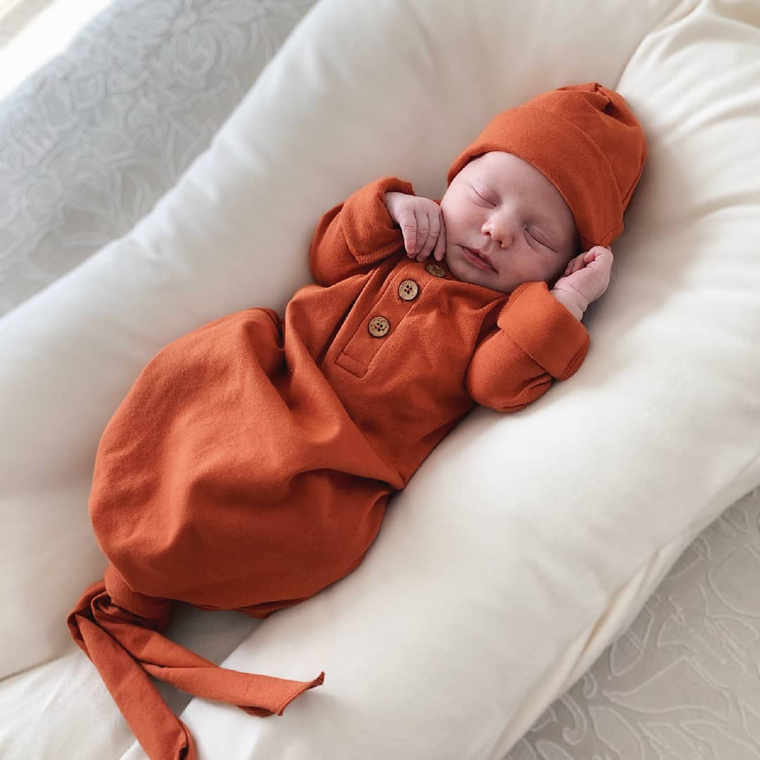organic knotted baby gown | rust