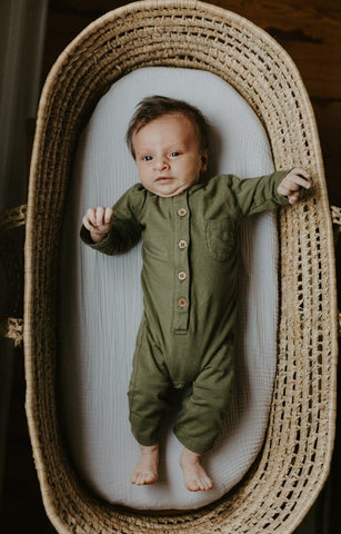 organic long sleeve one-piece | olive green (only3/6m and 6/12m available)