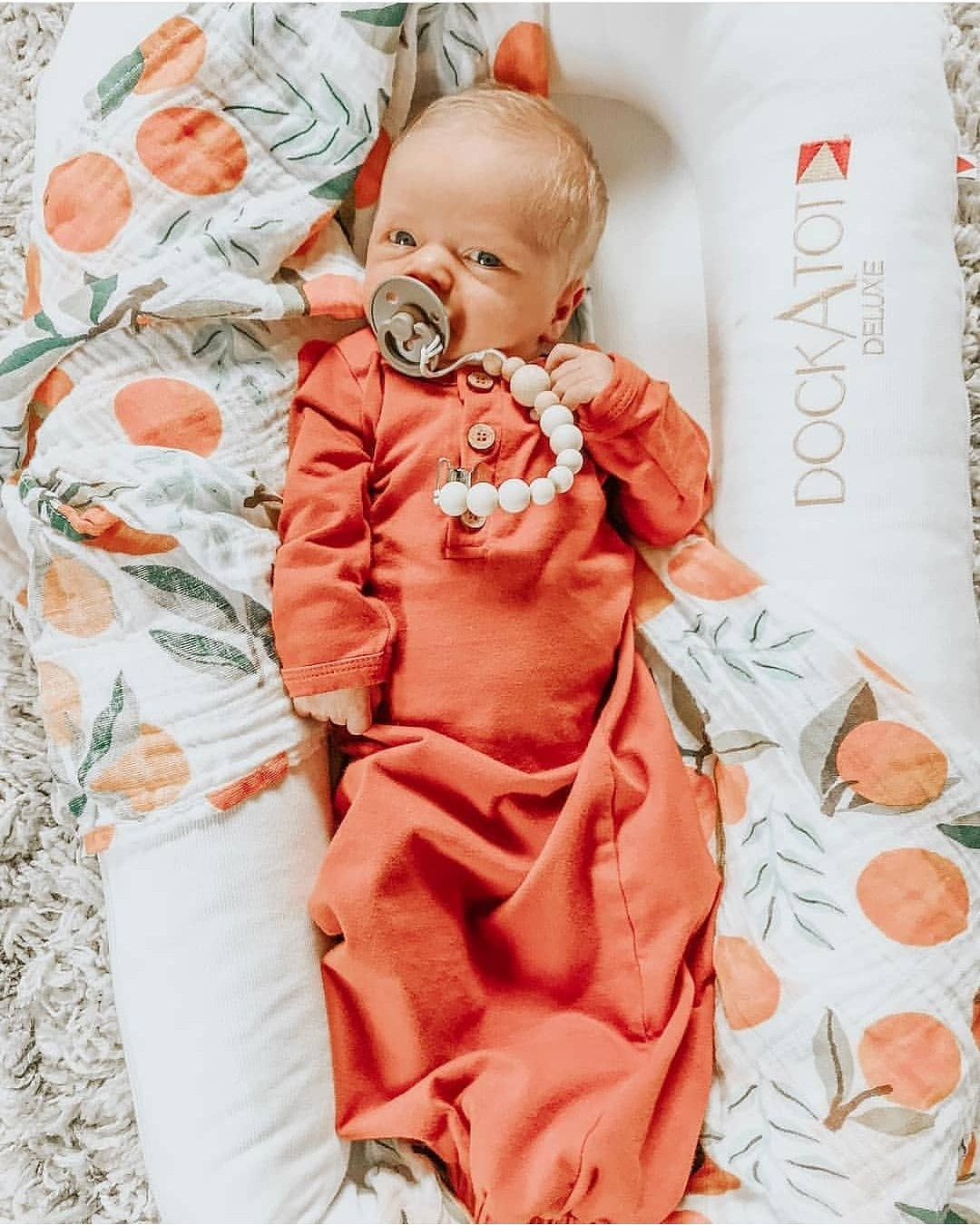 organic baby gown | rust