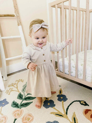 Organic Long Sleeve Ruffle Dress | Fawn