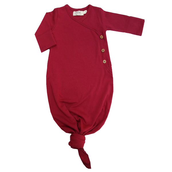 Organic cotton knotted baby gown. By Lucy Lue Organics. Organic cotton baby clothes, Monica and Andy, eco friendly baby clothes, organic newborn clothes, organic baby basics, organic baby layette, l'oved baby, baby knotted gowns, baby knotted gown, knotted baby gown, baby onesie, organic baby girl clothes, baby gown, baby sleeper, organic baby gown