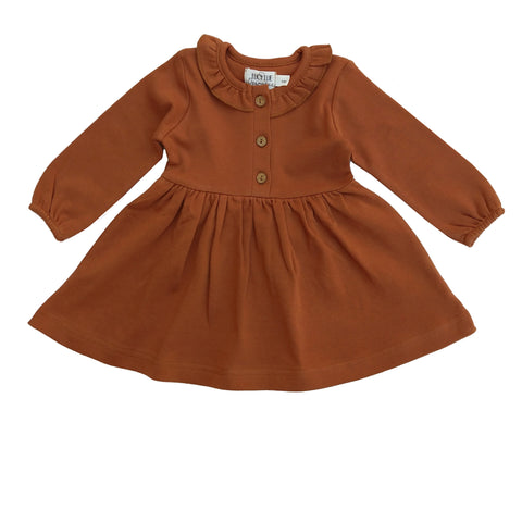 Organic Long Sleeve Ruffle Dress | Ginger