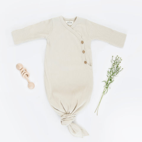 knotted kimono baby gown, Lucy Lue Organics, knotted baby gown, organic baby clothes, modern organic baby clothes, soft baby clothes, organic baby clothing brands, luxury baby clothes, bamboo baby clothes