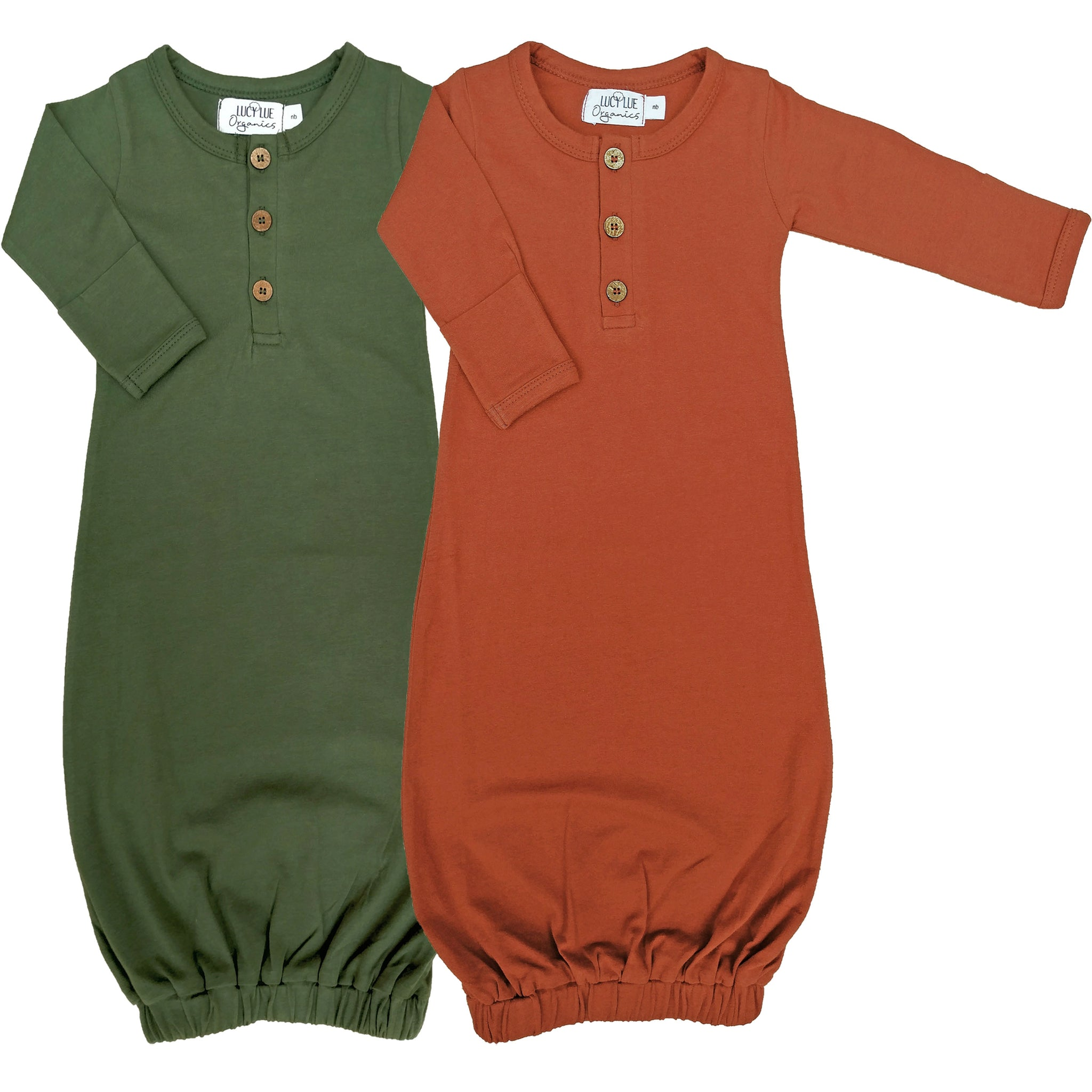 Organic Knotted Baby Gown Lucy Lue Organics 0-3m Olive Green