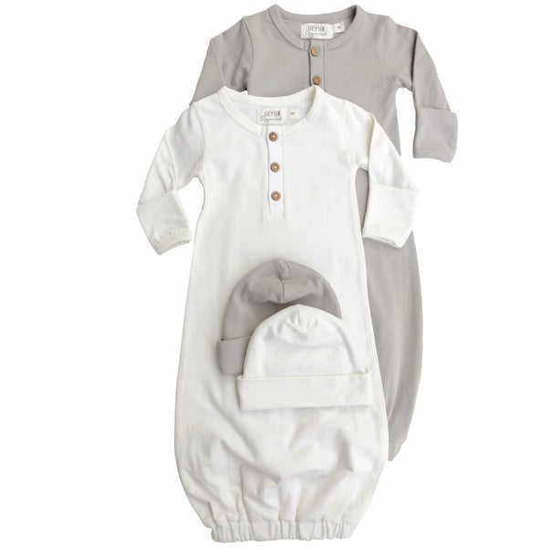 Organic newborn layette bundle set from Lucy Lue Organics. Set includes organic baby hat and organic baby gown in stone grey and ivory color