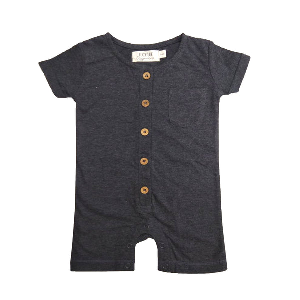 Organic short romper by Lucy Lue Organics. Organic baby clothes, organic toddler clothes, organic cotton, organic baby, eco friendly clothing, fair trade clothing, baby clothes, modern organic baby clothes, baby boy clothes, baby girl clothes, unisex baby clothes.