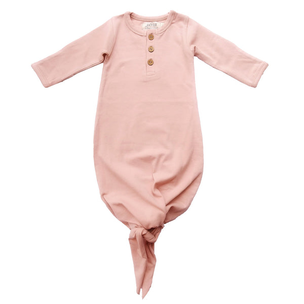 Organic cotton knotted baby gown. By Lucy Lue Organics. Organic cotton baby clothes, Monica and Andy, eco friendly baby clothes, organic newborn clothes, organic baby basics, organic baby layette, l'oved baby, baby knotted gowns, baby knotted gown, knotted baby gown, baby onesie, organic baby girl clothes
