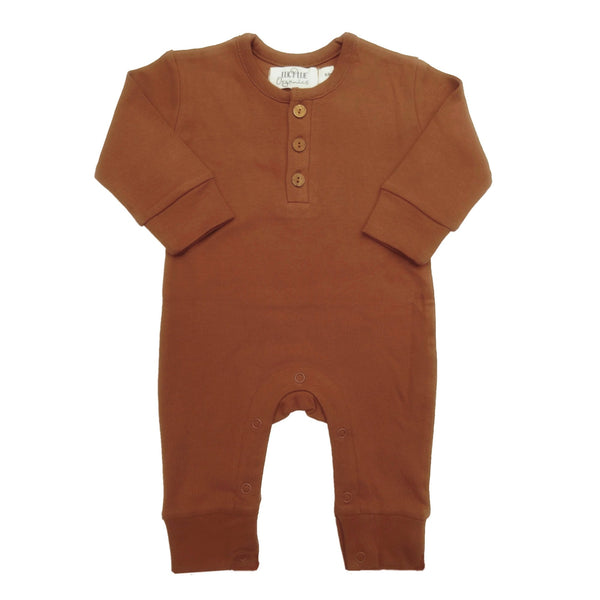 Organic Cotton long sleeve romper by Lucy Lue Organics. Long sleeve coverall. Organic Cotton Winter baby clothes.