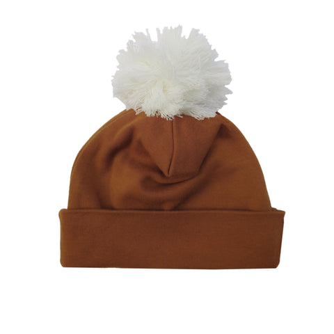 Organic cotton pom pom hat by Lucy Lue Organics. Modern organic baby clothes shop. Baby accessories. Baby hat.