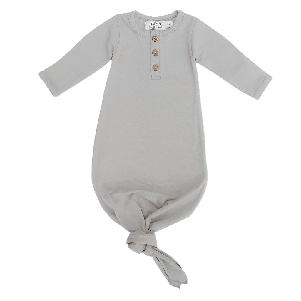 Organic cotton knotted baby gown. By Lucy Lue Organics. New baby must have. Organic baby clothes. Modern organic baby clothes