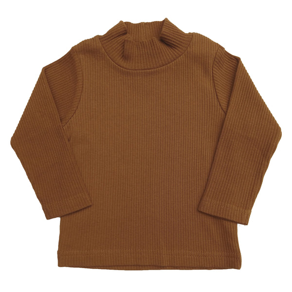 organic long sleeve high-neck top | bronze