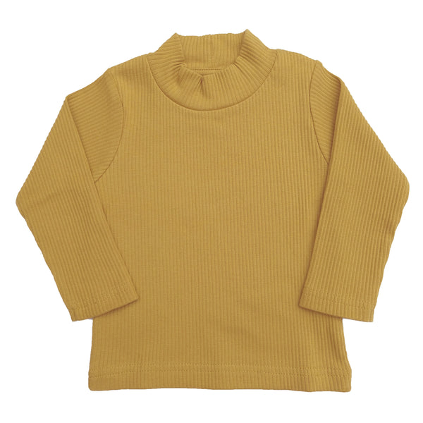 organic long sleeve high-neck top | dijon