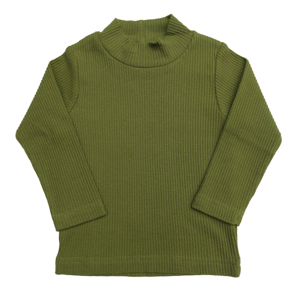 organic long sleeve high-neck top | fern green
