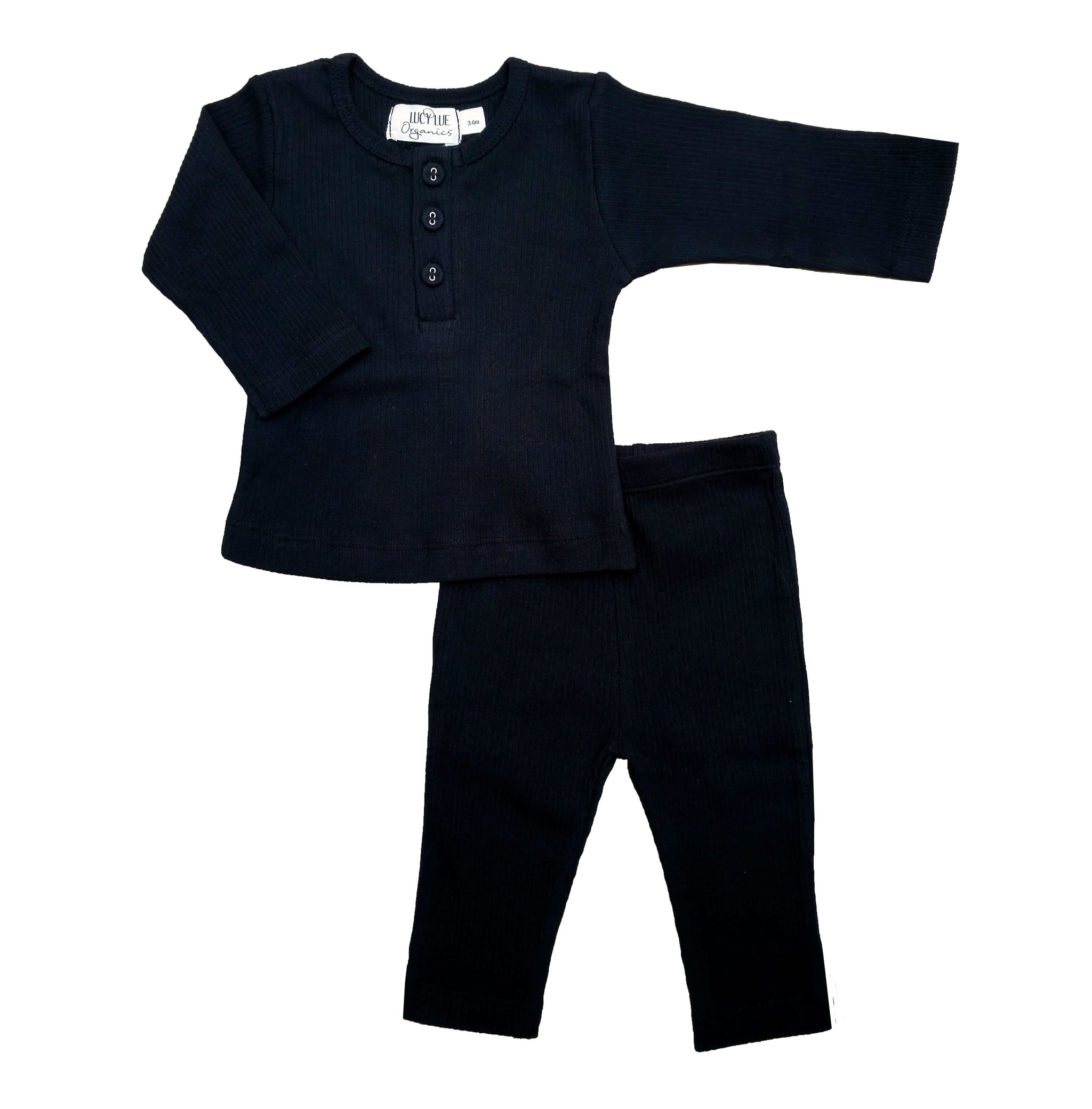 2 Piece set Lucy Lue Organics. Ribbed Henley shirt and pants set. Organic baby clothes, organic toddler clothes, organic cotton, organic baby, eco friendly clothing, fair trade clothing, baby clothes, modern organic baby clothes, baby boy clothes, baby girl clothes, unisex baby clothes. Summer baby styles.