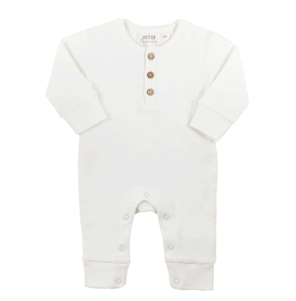 Long sleeve organic baby romper coverall in ivory color. Lucy Lue Organics. Bet selling baby romper. Organic baby clothes. Organic baby clothing