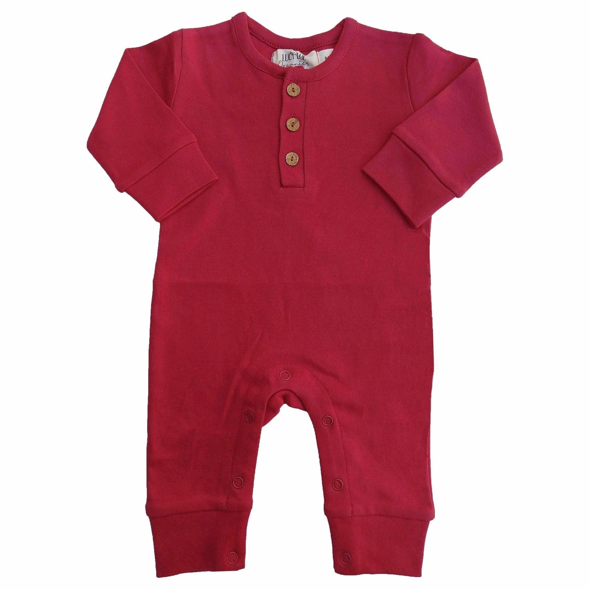 organic long sleeve romper | scarlet red