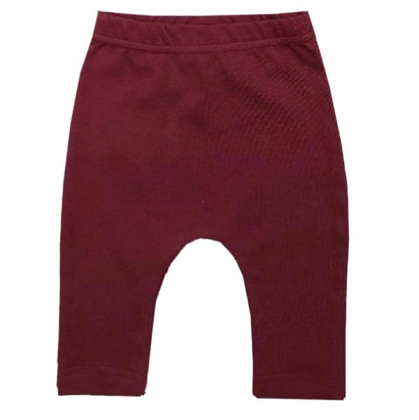 fs organic harem-style leggings | burgundy (only 3/6m & 6/12m left)