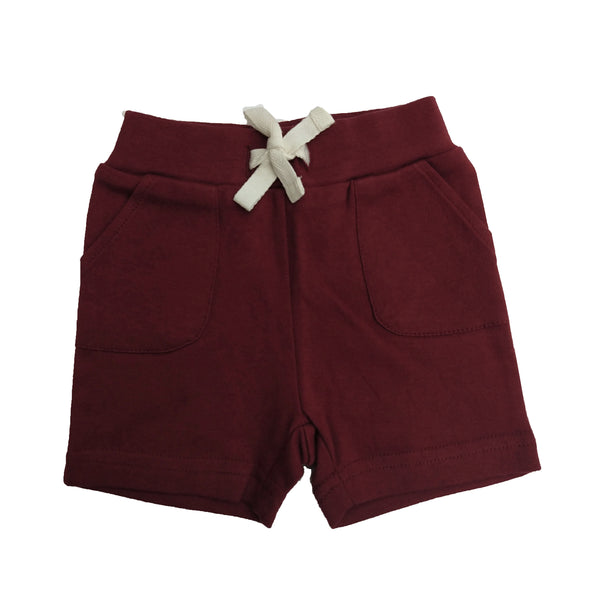 organic baby shorts w/ pockets | burgundy