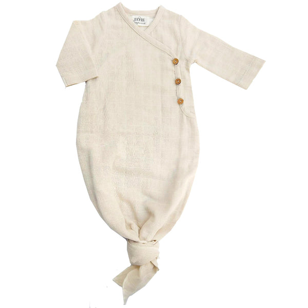 Organic muslin kimono gown, Lucy Lue Organics, knotted baby gown, baby gown, button baby gown, organic newborn baby clothes, organic baby clothes, spearmint love, muslin baby clothes, double gauze sleepers, organic muslin baby clothes, organic baby sleepers, organic knotted baby gown, kimono gown, Lou Lou