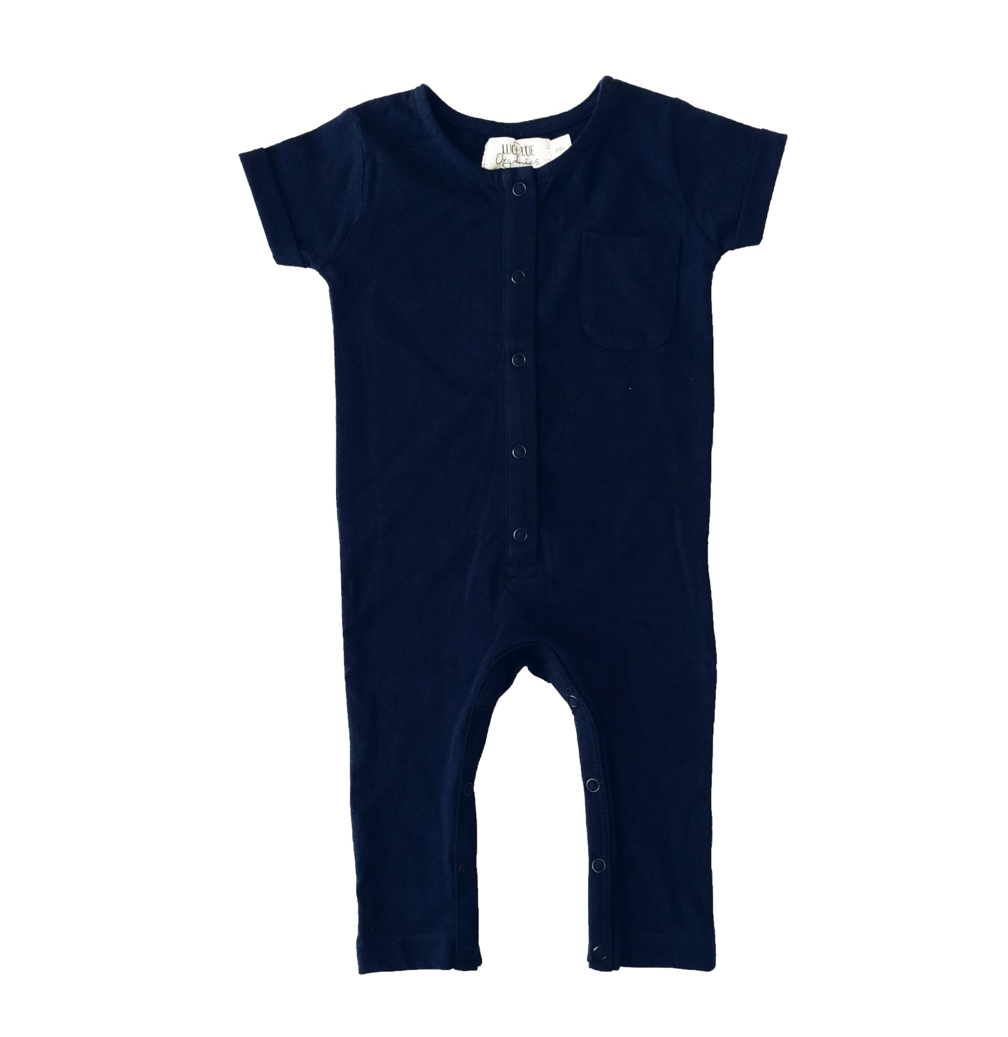 Baby clothes. Organic baby clothes. Super soft short sleeve navy blue organic cotton baby romper one-piece with snaps down the chest and legs. Made by Lucy Lue Organics. Baby must haves. Baby Christmas gift ideas. Spring baby styles.