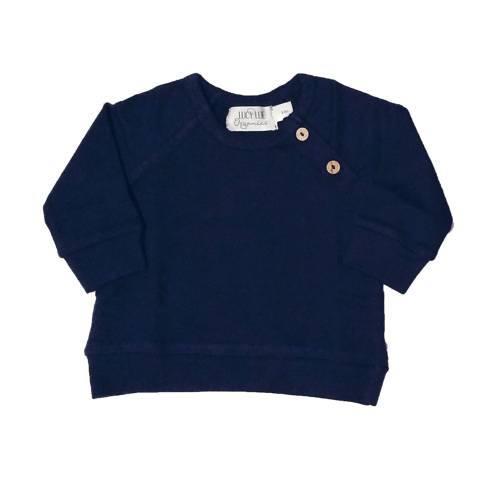 Organic cotton navy blue sweatshirt by Lucy Lue Organics. A favorite baby brand for organic clothes. Pullover baby shirt