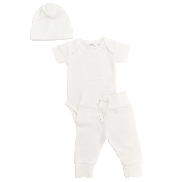 Organic newborn layette bundle set from Lucy Lue Organics. Set includes organic cotton baby hat, organic cotton short sleeve bodysuit, and organic cotton baby pants in ivory color. Lucy Lue Organics. Organic baby clothes, organic toddler clothes, organic cotton, toxin free clothing, eco friendly fabrics, eco-fashions, baby clothes, modern organic baby clothes, baby boy clothes, baby girl clothes, gender neutral baby clothes. Baby basics. Baby must haves. Baby clothing.