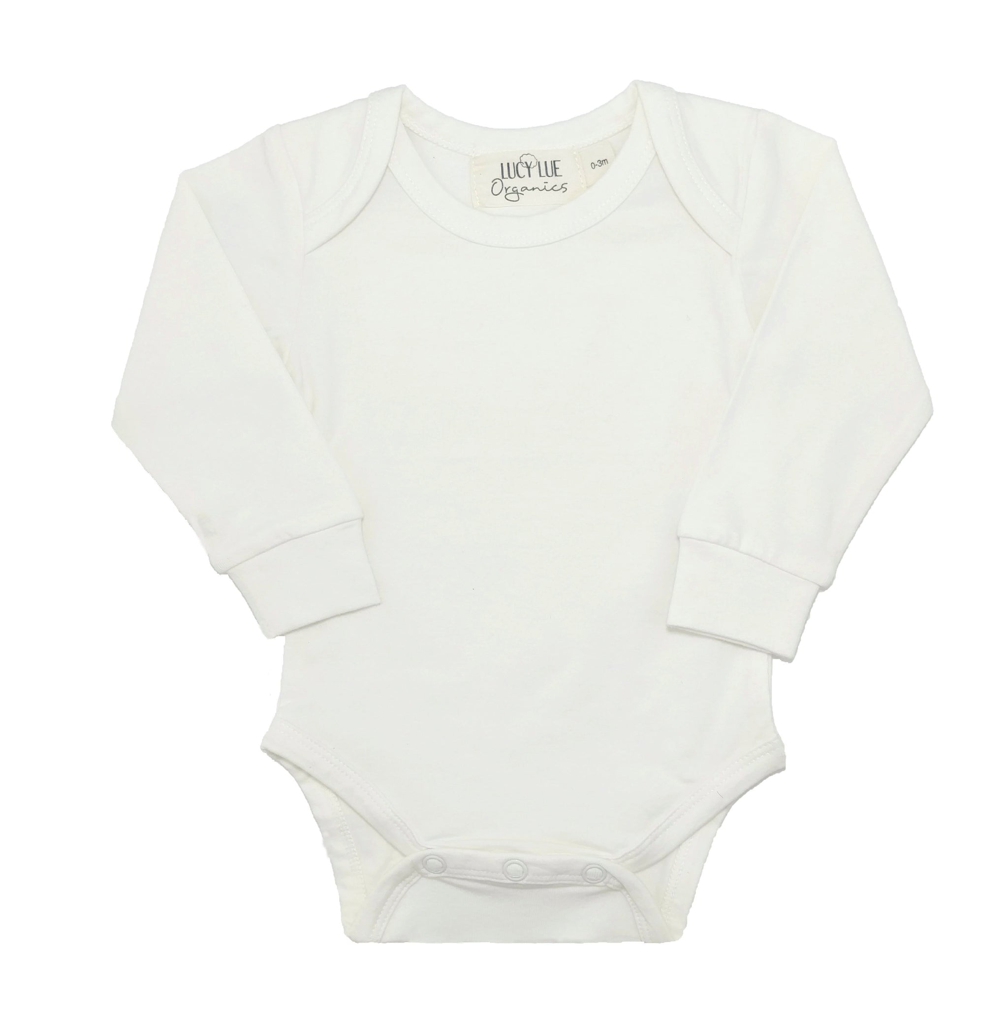 Best selling long sleeve organic baby bodysuit romper one-piece in the softest organic cotton fabric. Made by Lucy Lue Organics.  Popular gender neutral ivory color. Baby list must-have. Newborn take home outfit. Baby clothing. Baby clothes