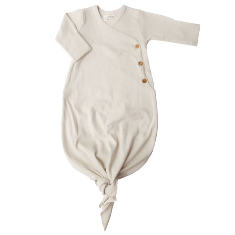 Organic cotton knotted kimono gown made by Lucy Lue Organics. Organic baby clothes. Modern organic baby clothes. Baby clothes. Unisex baby clothes. Eco-friendly baby clothes. Newborn baby essentials