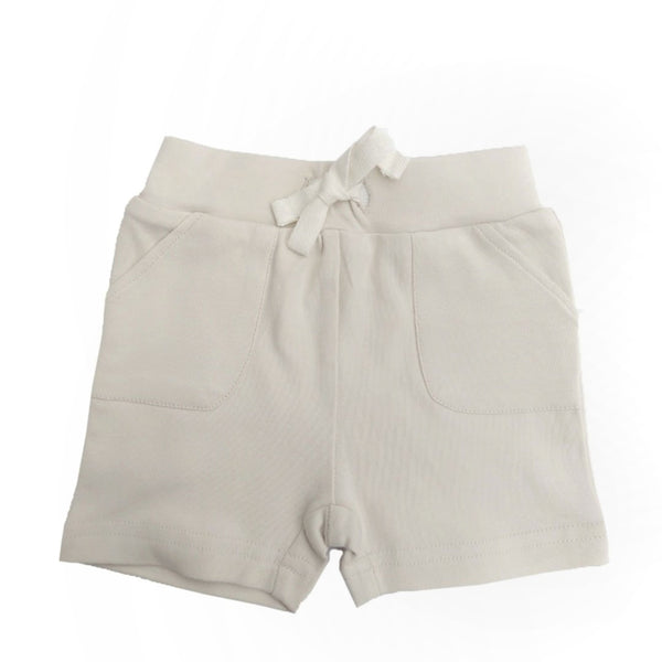 organic baby shorts w/ pockets | oatmeal